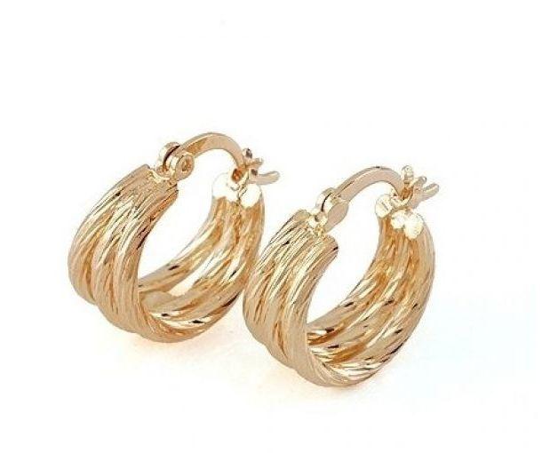 Ladies 22K Yellow Gold GP Triple Huggie Hoop Earrings E97