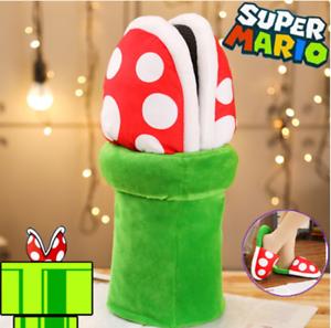 1-Par-De-Super-Mario-Bros-Pirana-Flor-Zapatilla-Zapato-Suave-Felpa-Juegos-con-disfraces-Accesorios