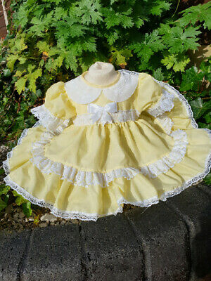 DREAM TRADITIONAL BABY GIRLS FRILLY NETTED DRESS  4 COLOURS  OR REBORN DOLLS