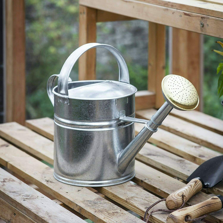 5 Litre Silver Galvanised Steel Metal Outdoor Garden Watering Can Brass Rose UK