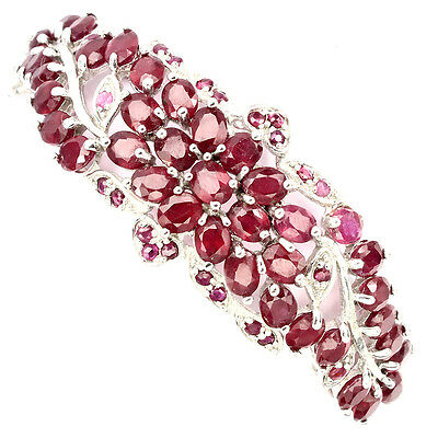Magnificent Oval Cut 5x4mm Top Blood Red Ruby 925 Sterling Silver Bangle Nr
