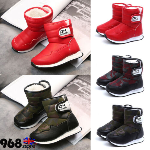 Kids Boys Girls Warm Fur Lined Slip On Shoes Ankle Boots Winter Snow Boots Size