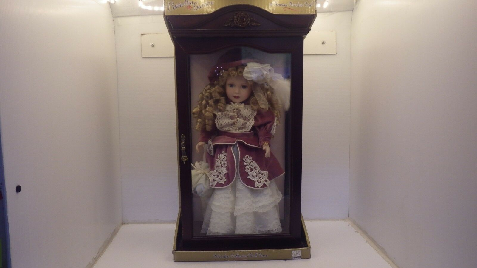 CAMELLIA GARDEN 16  GENUINE PORCELAIN DOLL IN GLASS AND WOOD CABINET,  2639, NIB