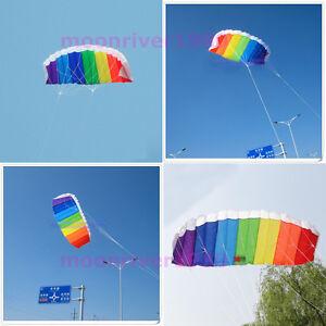 Beginner-Power-Dual-Line-Stunt-Parafoil-Parachute-Rainbow-Sports-Beach-Kite