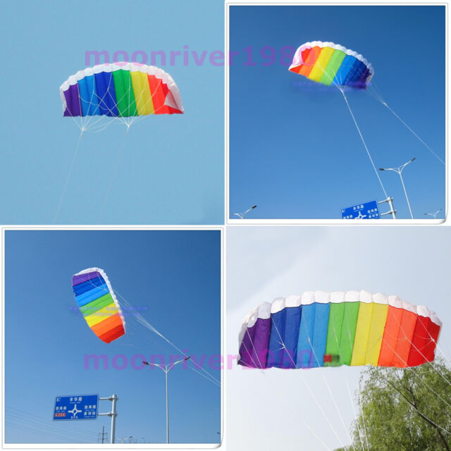 New Beginner Power Dual Line Stunt Parafoil Parachute Rainbow Sports Beach Kite