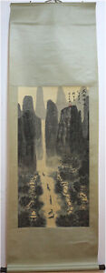 Excellent-Chinese-100-Hand-Painting-amp-Scroll-Landscape-By-Qian-Songyan-JMW8