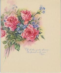 vintage 1950 s pink garden roses forget me nots flowers poem card