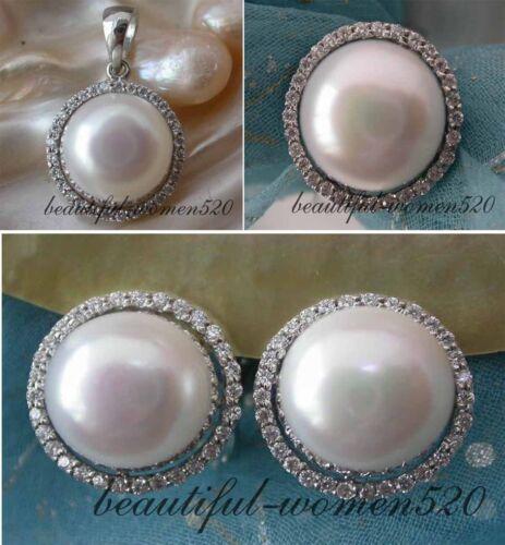 X0165 Real 12 mm Blanc Rond D/'eau Douce Pearl standard Silver Ring Earring pendan