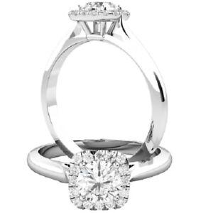 0.61 Ct Round Moissanite Wedding Ring 14K Bridal Solid White Gold ring Size 7 8