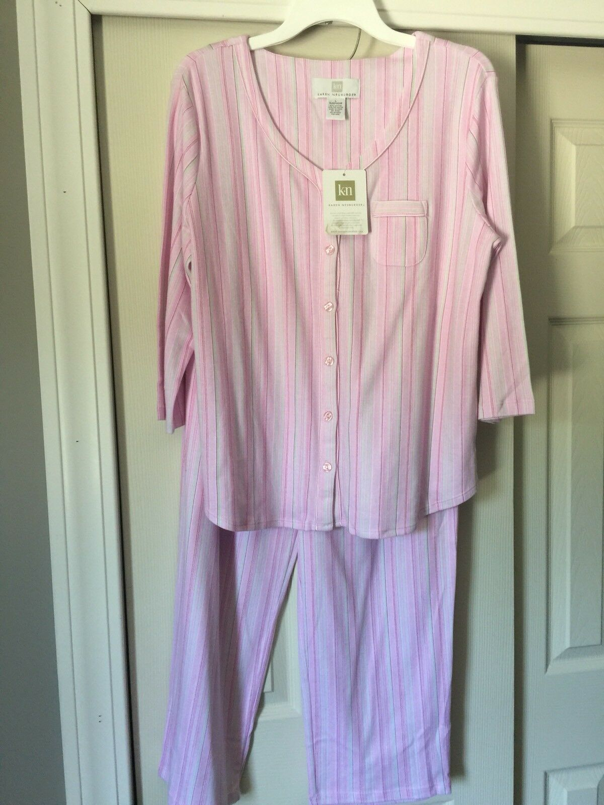 Karen Neuburger PJ Set 3 4 Sleeve LongPants SzLarge Pink,White & GreenStripe NWT