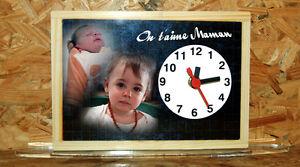 Horloge-de-bureau-style-ardoise-d-039-ecolier-personnalisee-2-photos-de-votre-choix