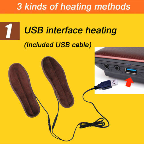 1 Pair USB Charging Electric Heated Fleece Insoles Pad Shoes Warmer Boots Heater