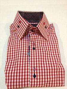 New Mens Max Lauren By Brio Red Check High Collar Dress Shirt ,Size L