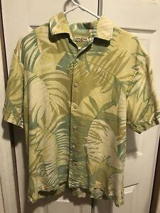 Tommy-Bahama-Mens-100-Silk-Shirt-Short-Sleeve-Hawaiian-Button-Up-Size-Medium-M