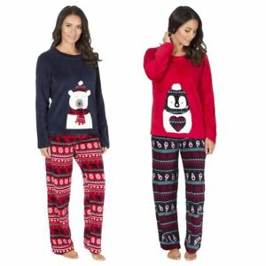 Image is loading Women-039-s-Christmas-Fleece-Pyjamas-Festive-Xmas- c46e5a995