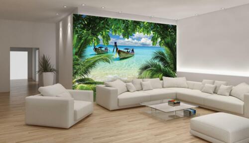 Vlies Fototapete XXL Strand Meer Dschungel Schiff Wohnzimmer Tapete Wandtapete 5