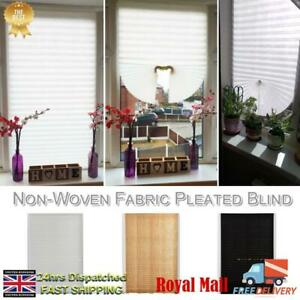 UK-Curtain-Coffee-Pleated-Blind-Balcony-Shades-Non-Woven-Fabric-Self-Adhesive-PX
