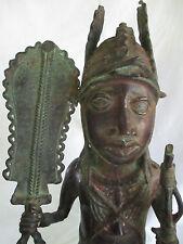 """ANTIQUE 1800'S AFRICAN TRIBAL LARGE 24"""" BENIN BRONZE WARRIOR SCULPTURE NIGERIA"""