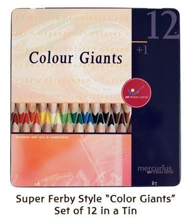 Mercurius AMS Color Giant Pencils, Set of 12 in Tin Case