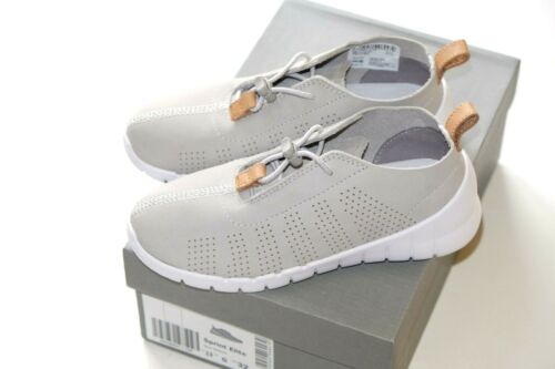 Clarks Sprint Elite grey leather unisex trainers 12//30-2.5//35 RRP £45