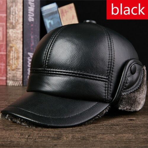 7b2f589a478 2 of 10 Men Leather Trapper Warm Hat Baseball Cap Outdoor Hunting Aviator  Earflap Winter