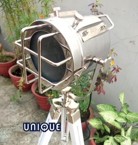 Nautical Chrome Floor Lamp W//White Tripod Marine Industrial Spot Light Best Gift