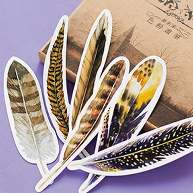 30Pcs/set Beautiful Feathers Marker Stationery Gifts Kawaii Cartoon Bookmarks