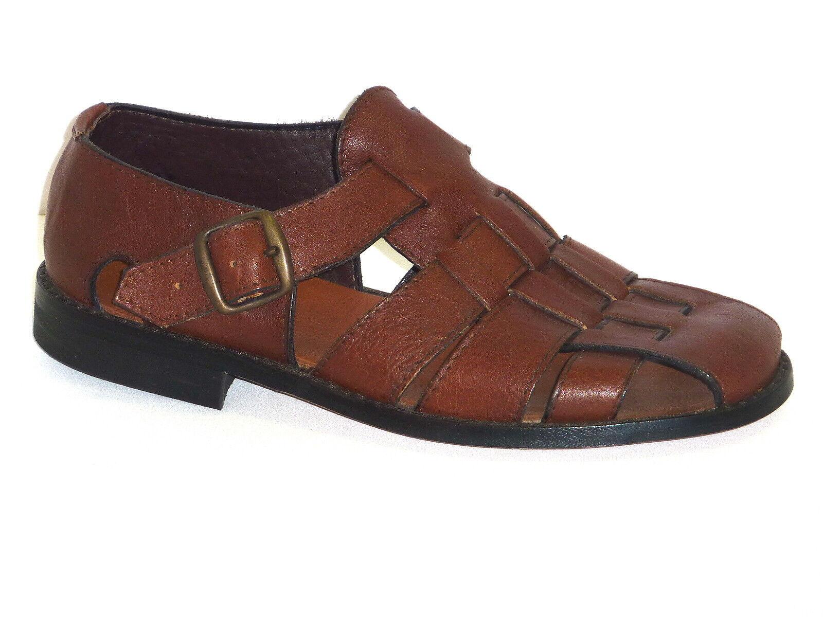 Sandalen mit Schnalle Herren Leder braun Absatz Gummi made in italy n. 43