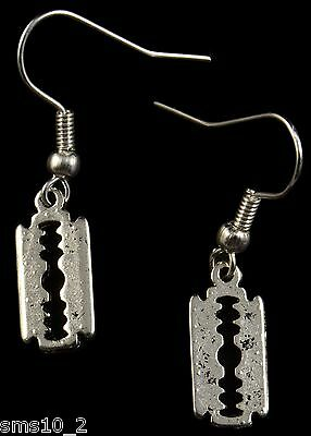 "Hand Made Silver Colour ""Razor Blade"" Earrings HCE120"