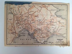 Torquay England Map.Torquay Antique Street Map 1906 Devon England Atlas Ebay