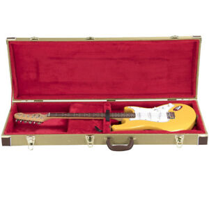 Tweed-Rectangle-Shaped-Deluxe-Hard-Case-for-Electric-Guitar-Gold