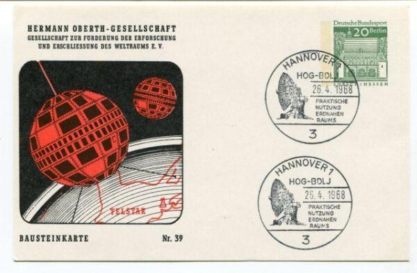 1968 Hermann Oberth Gesellschaft Weltraums Hannover Bausteinkarte Nr. 39 Space Pas De Frais à Tout Prix