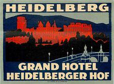 Grand Hotel ~HEIDELBERG GERMANY~ Spectacular Trüb Luggage Label, circa 1930