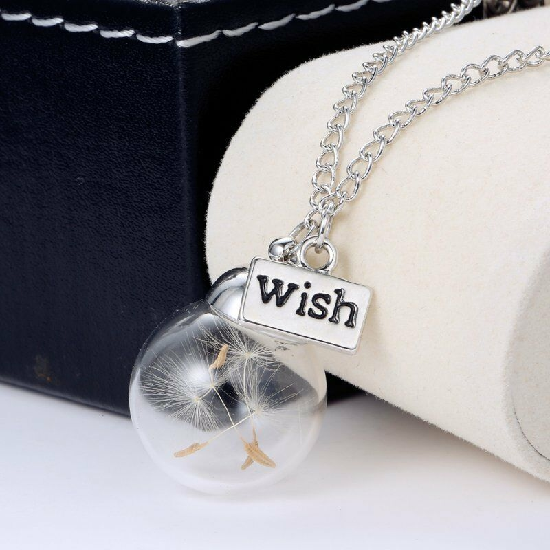 Fashion Glass Wishing Bottle Real Dandelion Seeds Lucky Pendant Necklace Summer