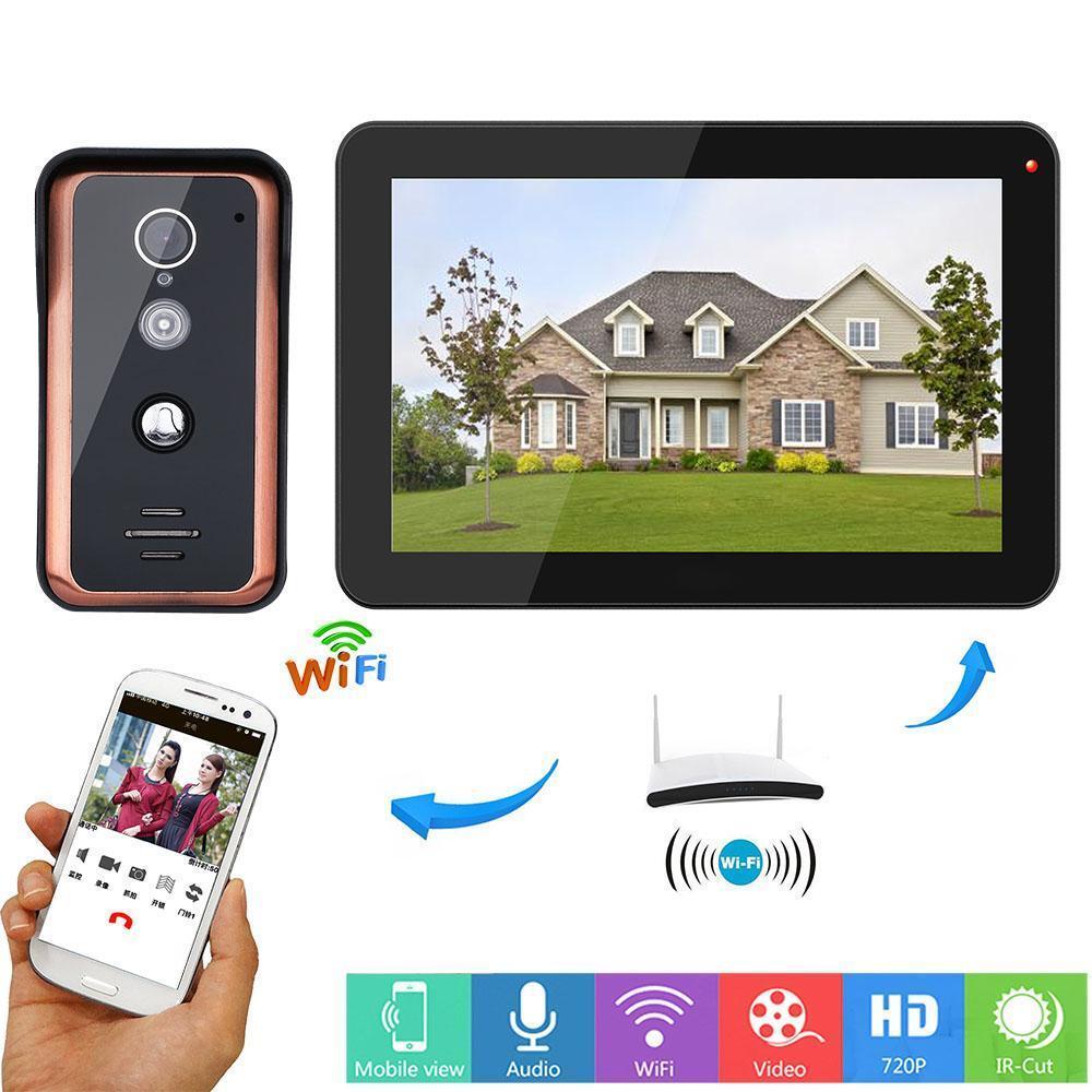 9 Pulgadas Con Cable INTERCOMUNICADOR WiFi Timbre 1000TVL INFRARROJO Corte aplicación para puerta de video remoto