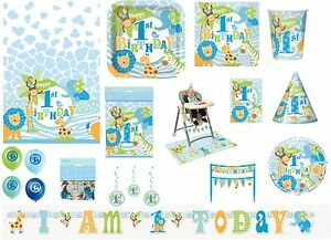 Boy Boys 1st First Birthday Blue Safari Jungle Party Tableware