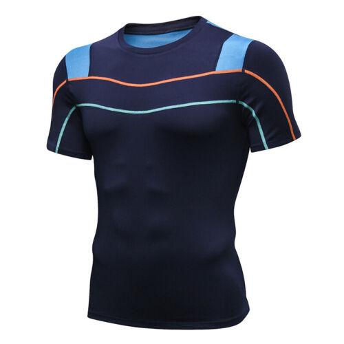 Herren Funktionswäsche Schnelltrockend Kurzarm Kompression Sportshirt Hemd JO