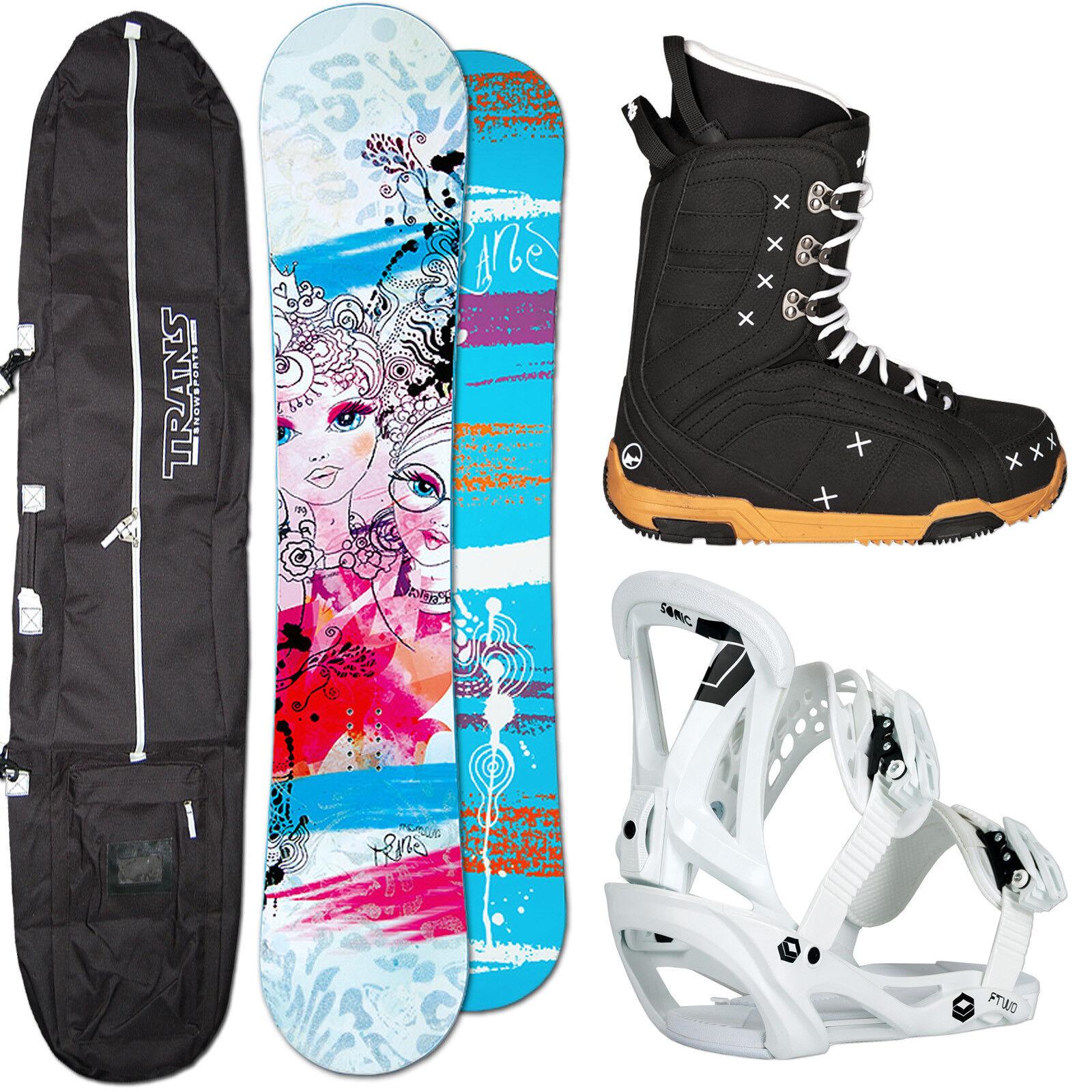 Snowboard Mujer Set Trans Premium 143cm + Ftwo Sonic Fijación Talla M + botas +
