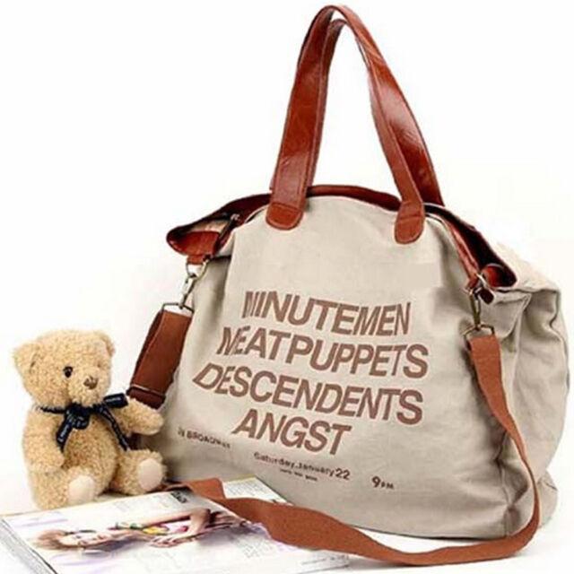 Women's Fashion Letter Canvas Casual Bag Messenger Bags Shoulder Handbag Tote