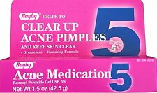 Rugby Benzoyl Peroxide Acne Gel 5% 1.5oz Tube -Expiration Date 11-2018-