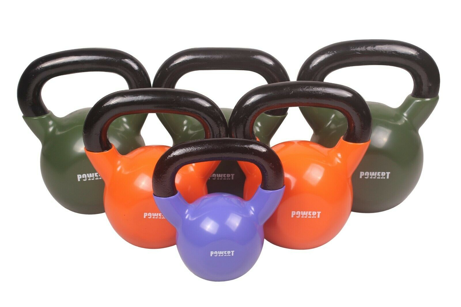 POWERT Vinyl Coated Kettlebell for Weight Lifting Workout 5-50LB–Single