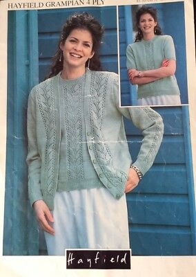 Knitting Pattern For Ladies 4 Ply  Twin Set Cardigan Top Size 32//42/""