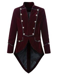 Men's Handmade Steampunk Tailcoat Jacket Red And Black Velvet Goth VTG Victorian