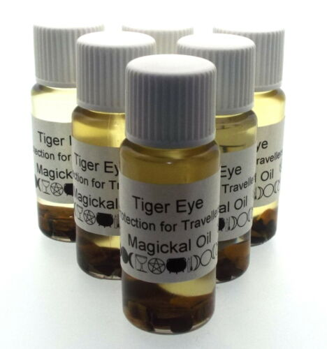 Tigers Eye Gemstone Magickal Anointing 10ml Oil Travel Protection