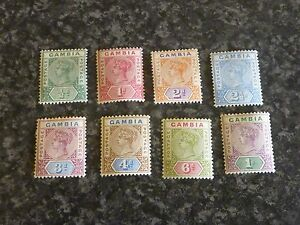 GAMBIA-POSTAGE-STAMPS-SG37-44-1898-1902-LIGHTLY-MOUNTED-MINT