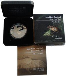 Neuseeland-Silbermuenze-Hamilton-Frog-2008-Polierte-Platte-Etui-nur-4-000-Stueck