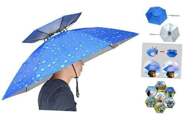 37.4'' Diameter Double Layer Folding Compact UV Wind Protection Umbrella Hat