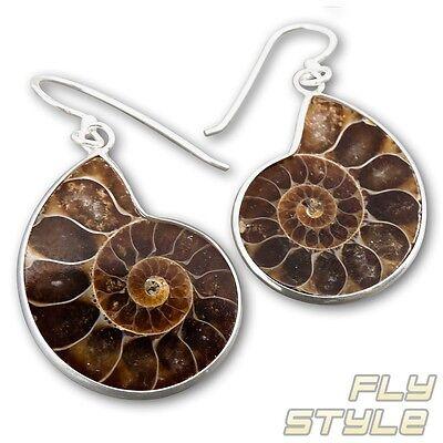 925 Silber Ammonit ohrhänger natur schmuck handarbeit spirale ohrringe