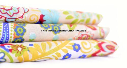 1 Yard Indian Cotton Beige Paisley Handmade Running Fabric Screen Print Fabric