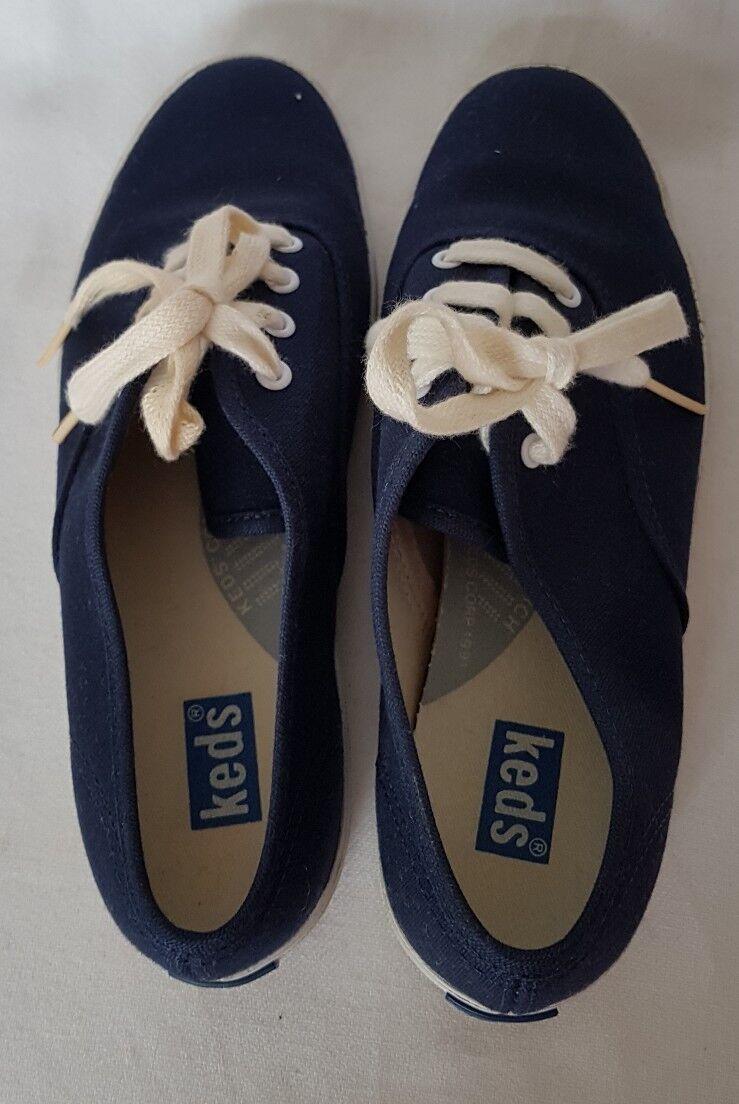 Keds Femmes Bleu Marine Bas Montantes Baskets Toile Lacets